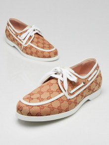 Gucci Beige/Red GG Canvas Lace Up Loafers Men's Size 7.5