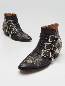 Chloe Black Leather Studded Susanna Ankle Boots Size 8/38.5