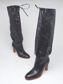 Gucci Black Leather Knee-High Pull On Boots Size 8.5/39