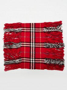Burberry Red Plaid Check Cashmere Fringe Scarf