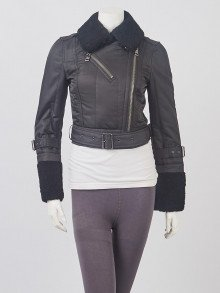 Burberry Brit Black Polyester and Shearling Motorcycle Jacket Size 6/40